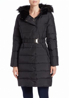 TAHARI Roma Faux Fur-Trimmed Quilted Coat