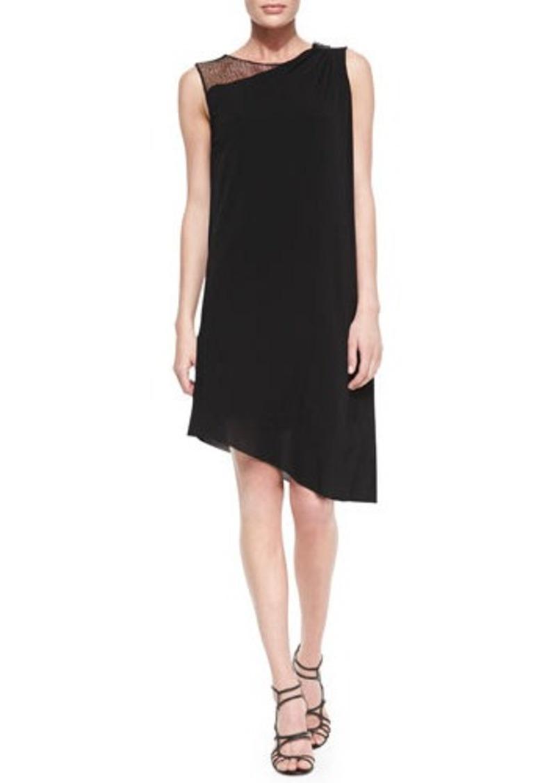 Tahari Rosa Sleeveless Mesh Shoulder Asymmetric Dress
