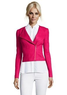 Tahari rose pink tweed 'Brenna' assymetrical zip moto jacket