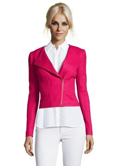 Tahari rose pink tweed 'Brenna' assymetrical zip moto jacket