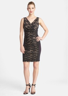 Tahari Ruched Sequin Lace V-Neck Sheath Dress (Petite)