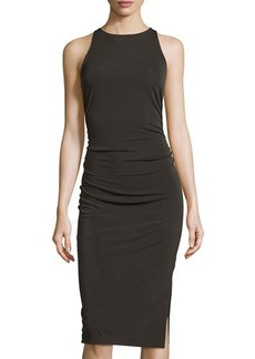 Tahari Ruched Sleeveless Midi Dress