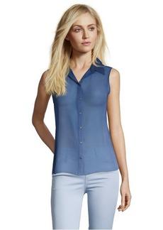 Tahari sapphire chiffon 'Bella' button front blouse