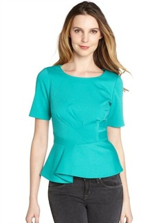 Tahari seafoam green stretch short sleeve 'Colby' peplum blouse