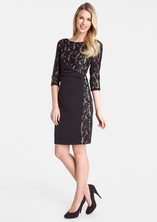 Tahari Sequin Lace Panel Jersey Sheath Dress (Regular & Petite)