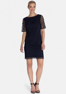 Tahari Sheer Sleeve Lace Shift Dress (Regular & Petite)