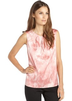 Tahari shiny pink stretch woven snake print sleeveless 'Kree' blouse