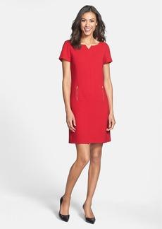 Tahari Short Sleeve Double Woven Shift Dress (Petite)