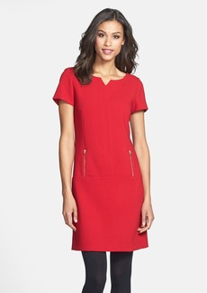 Tahari Short Sleeve Double Woven Shift Dress