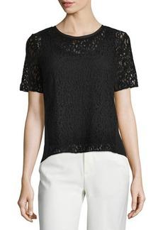 Tahari Short-Sleeve Lace-Front Blouse