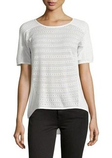 Tahari Short-Sleeve Mesh-Trim Sweater
