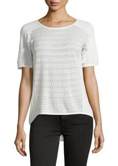 Tahari Short-Sleeve Mesh-Trim Sweater
