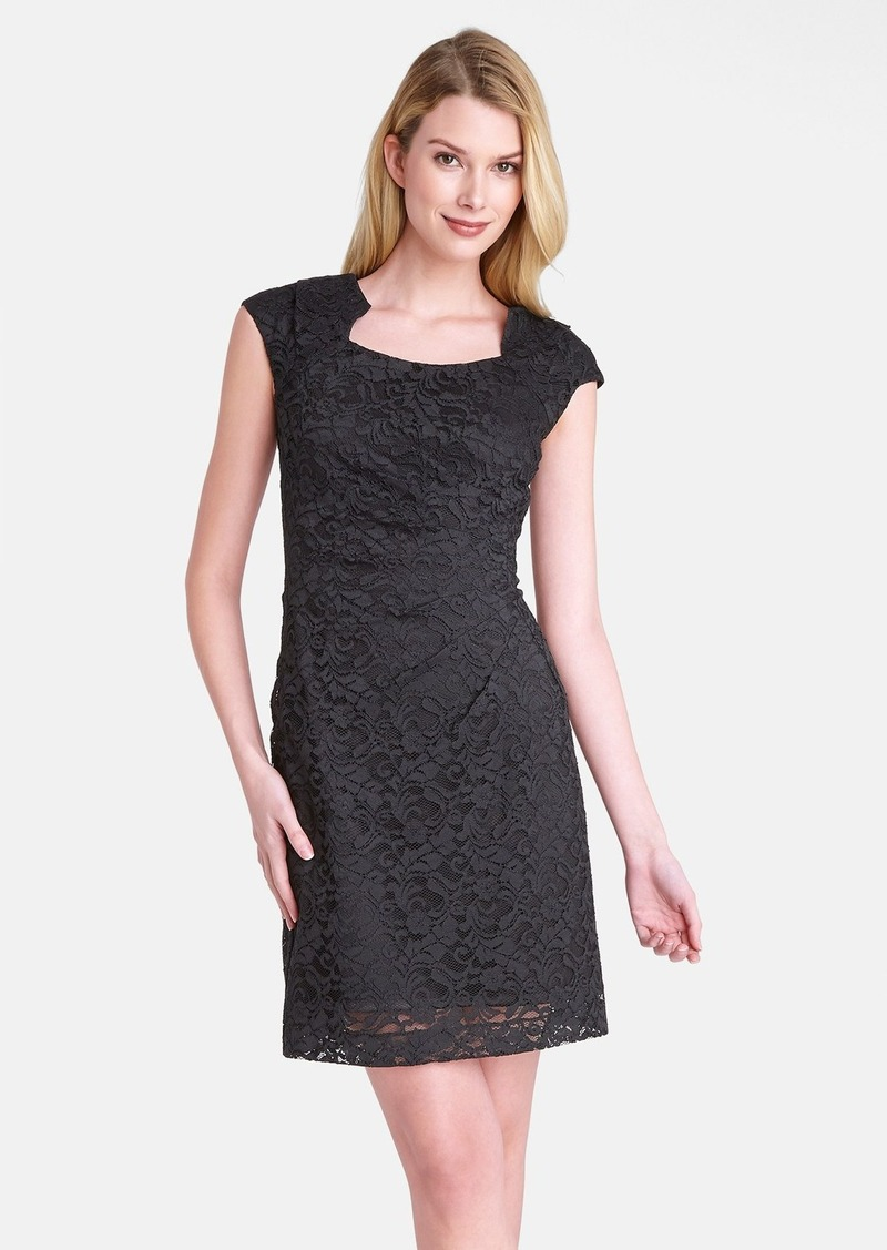 Tahari Side Pleat Lace Sheath Dress (Petite)