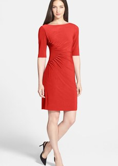 Tahari Side Tuck Jersey Sheath Dress (Petite)