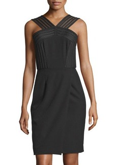 Tahari Sleeveless Faux-Wrap Sheath Dress