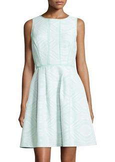 Tahari Sleeveless Jacquard Fit-and-Flare Dress