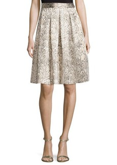 Tahari Snake-Print A-Line Skirt