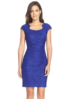 Tahari Square Neck Lace Sheath Dress