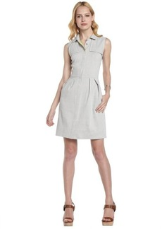 Tahari stone and blue linen blend 'Gianna' shirt dress
