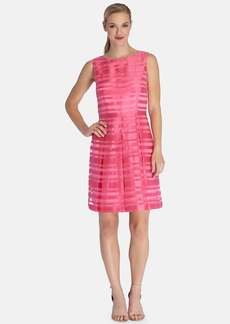 Tahari Stripe Organza Fit & Flare Dress (Regular & Petite)