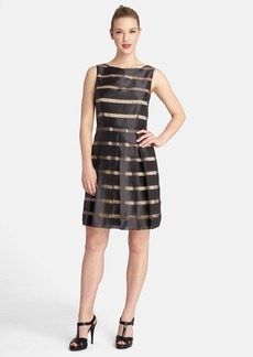 Tahari Stripe Organza Sleeveless Fit & Flare Dress (Petite)