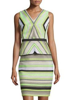 Tahari Striped Peplum Sleeveless Dress