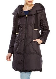 TAHARI Taryn Ruched Side Down Coat