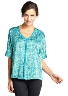 Tahari teal aruba patterned 'Charity' dolman sleeve v-neck blouse