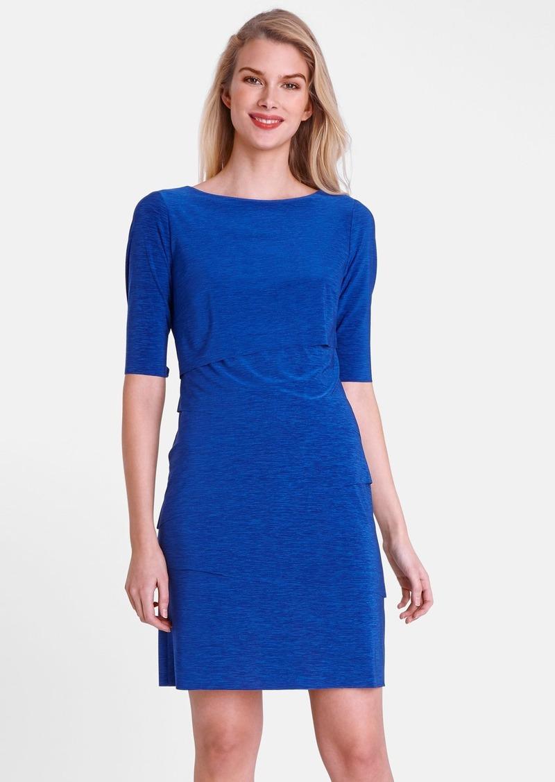 Tahari Tiered Jersey Sheath Dress