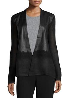 Tahari Vanessa Faux-Leather & Knit Jacket