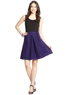 Tahari violet and black stretch knit colorblock sleeveless dress