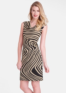 Tahari 'Wave' Print Cowl Neck Sheath Dress (Petite)
