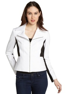 Tahari white and black 'Mari' notched lapel zip jacket