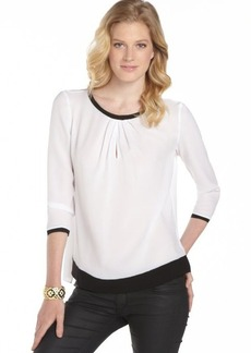 Tahari white and black 'Sheena' three quarter sleeve blouse