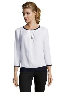 Tahari white and black 'Sheena' three quarter sleeve blouse
