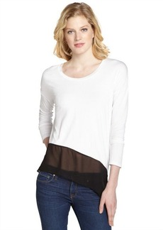 Tahari white and black stretch 'Shaelyn' long sleeve top