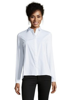 Tahari white cotton blend 'Anya' button front blouse