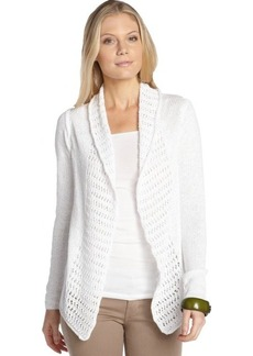 Tahari white cotton blend crochet detail long sleeve cardigan