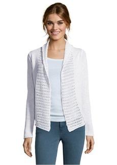 Tahari white cotton blend crochet detail long sleeve cardigan