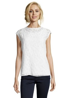 Tahari white cotton blend lace 'Gisella' cap sleeve blouse