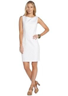 Tahari white cotton blend 'Reese' almond eyelet lace sleeveless dress