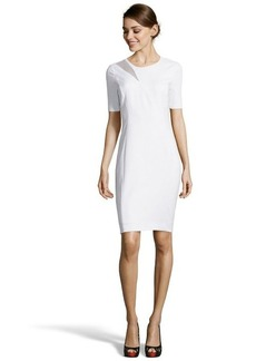 Tahari white mixed media 'Axel' short sleeve sheath dress
