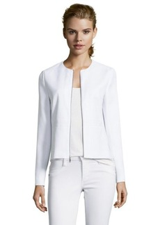 Tahari white mixed media 'Cleary' front zip long sleeve jacket