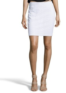 Tahari white stretch cotton blend 'Bella' almond eyelet accent skirt