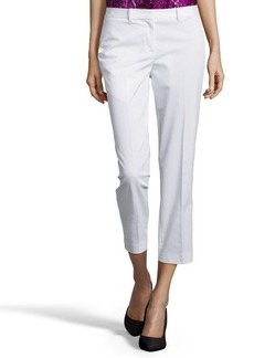Tahari white stretch cotton blend 'Sloane' flat front cropped pants