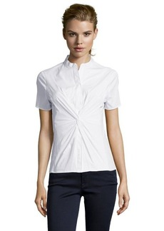 Tahari white stretch cotton knot front 'Casey' blouse