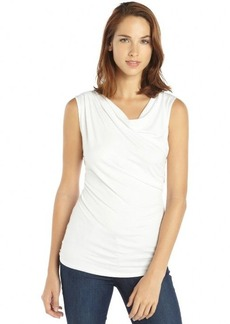 Tahari white stretch knit cowlneck sleeveless 'Sally' tee
