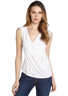 Tahari white stretch ruched detail 'Oren' sleeveless top