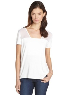 Tahari white stretch semi-sheer 'Padma' short sleeve t-shirt