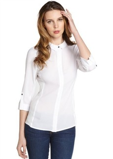 Tahari white stretch zipper down 'Val' three quarter sleeve blouse